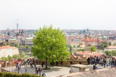 Amazing scenic view from Prague castle to historical center of Prague,buildings and landmarks of old town. Tourists stock photos