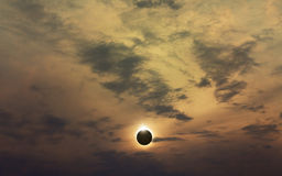 Amazing scientific background - total solar eclipse Royalty Free Stock Images