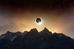 Amazing scientific background - total solar eclipse Stock Photography