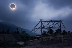 Scientific natural phenomenon. Total solar eclipse with diamond Stock Images