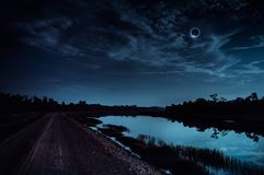 Scientific natural phenomenon. Total solar eclipse with diamond royalty free stock photos