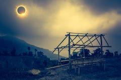 Scientific natural phenomenon. Total solar eclipse with diamond. Amazing scientific natural phenomenon. The Moon covering the Sun. Total solar eclipse with Royalty Free Stock Photo