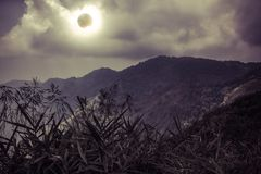 Scientific natural phenomenon. Total solar eclipse with diamond. Amazing scientific natural phenomenon. The Moon covering the Sun. Total solar eclipse with Royalty Free Stock Image