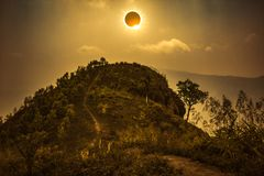Scientific natural phenomenon. Total solar eclipse glowing on sk Royalty Free Stock Photos