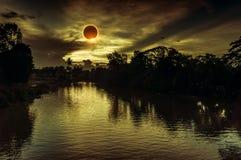 Scientific natural phenomenon. Total solar eclipse with diamond Stock Photos