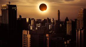 Amazing scientific natural phenomenon. Total solar eclipse glowi Royalty Free Stock Photo