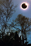 Amazing scientific natural phenomenon. Total solar eclipse glowi Stock Image