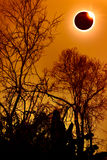 Amazing scientific natural phenomenon. Total solar eclipse glowi Royalty Free Stock Photos
