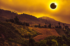 Amazing scientific natural phenomenon. Total solar eclipse glowi Stock Photos
