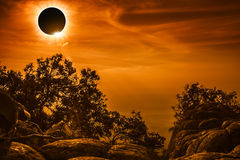 Amazing scientific natural phenomenon. Total solar eclipse glowi Royalty Free Stock Images