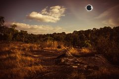 Amazing scientific natural phenomenon. Total solar eclipse glowi Royalty Free Stock Photography