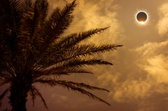 Amazing scientific natural phenomenon. Total solar eclipse glowi. Scientific natural phenomenon. Prominence and internal sun`s corona. Total solar eclipse with Royalty Free Stock Images
