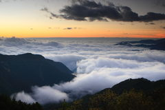 Amazing sea of clouds with sunset Royalty Free Stock Photo