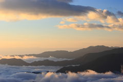 Amazing sea of clouds with sunset Royalty Free Stock Photography