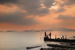 Amazing sea sunset. at sandy bay Royalty Free Stock Photos