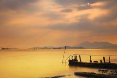 Amazing sea sunset. at sandy bay Stock Photos