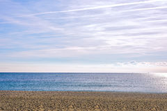 Amazing sea view Barcelona Beach Platja Nova Icaria or Barceloneta. Amazing sea view Barcelona Beach Platja Nova Catalunya sunny day Royalty Free Stock Images