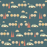 Amazing seamless blue vintage car pattern Stock Photo
