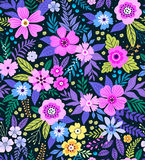 Amazing seamless floral pattern. With bright colorful flowers and leaves on a blue background. The elegant the template for fashion prints. Modern floral Stock Photography