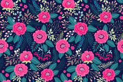 Amazing seamless floral pattern. With bright colorful flowers and roses on a dark blue background. The elegant the template for fashion prints. Modern floral Stock Image