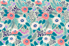 Amazing seamless floral pattern. With bright colorful flowers and rosess on a gray background. The elegant the template for fashion prints. Modern floral Royalty Free Stock Photos