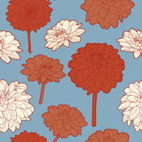 Amazing seamless floral vintage japanese blue-red pattern Royalty Free Stock Photos