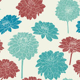 Amazing seamless floral vintage japanese brown spring pattern Royalty Free Stock Images