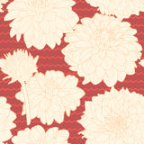Amazing seamless floral vintage japanese red pattern with stripes Royalty Free Stock Photo