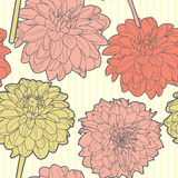 Amazing seamless floral vintage japanese spring aster pattern Royalty Free Stock Photography