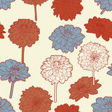 Amazing seamless floral vintage japanese white-red pattern Stock Photos