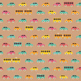 Amazing seamless vintage colorful car pattern Royalty Free Stock Images
