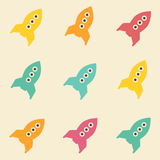 Amazing seamless vintage colorful rocket cosmos pattern Stock Photos