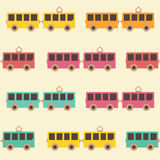 Amazing seamless vintage colorful tram pattern Royalty Free Stock Photography