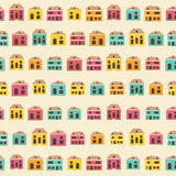 Amazing seamless vintage pretty town pattern Royalty Free Stock Image