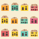 Amazing seamless vintage pretty town pattern Royalty Free Stock Photography