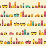 Amazing seamless vintage pretty town pattern Royalty Free Stock Photos