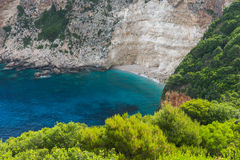 Amazing Seascape with Blue water and rocks of small beach at Zakynthos island Royalty Free Stock Photography