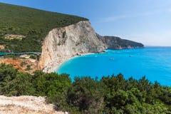 Seascape of blue waters of Porto Katsiki Beach, Lefkada, Ionian Islands, Greece. Amazing seascape of blue waters of Porto Katsiki Beach, Lefkada, Ionian Islands Stock Photos