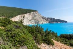 Seascape of blue waters of Porto Katsiki Beach, Lefkada, Ionian Islands, Greece. Amazing seascape of blue waters of Porto Katsiki Beach, Lefkada, Ionian Islands Royalty Free Stock Photo