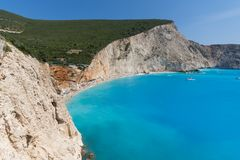 Seascape of blue waters of Porto Katsiki Beach, Lefkada, Ionian Islands, Greece Royalty Free Stock Photography