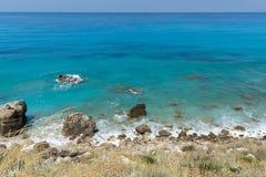 Seascape of Kokkinos Vrachos Beach with blue waters, Lefkada, Ionian Islands, Greece stock image