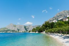 Amazing seascape in Omis, Croatia. Beautiful beach and transparent  Adriatic Sea, Croatia Stock Images