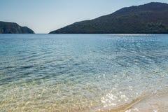 Seascape with Porto Koufo Beach at Sithonia peninsula, Chalkidiki, Central Macedonia, Greece. Amazing seascape with Porto Koufo Beach at Sithonia peninsula royalty free stock photography