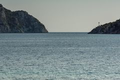Seascape with Porto Koufo Beach at Sithonia peninsula, Chalkidiki, Central Macedonia, Greece. Amazing seascape with Porto Koufo Beach at Sithonia peninsula royalty free stock photo