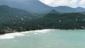 Amazing seascape view from high. Aerial view of mountains and sea stock footage