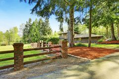 Amazing secluded home with large fenced backyard area,. Amazing secluded home with large fenced backyard area featuring a lush green lawn and surrounded by trees Stock Image