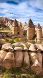 Amazing shapes in sandstone canyon near famous Goreme village, C Royalty Free Stock Photography