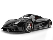 Amazing shiny black supercar Royalty Free Stock Photos