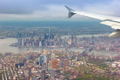 Amazing shot of New York City shot from a plane. Great shot of NYC during daylight from an airplane Stock Photo