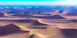 Amazing sight on Sahara desert at sunset 3d rendering. Amazing sight on Sahara desert at sunset Stock Images